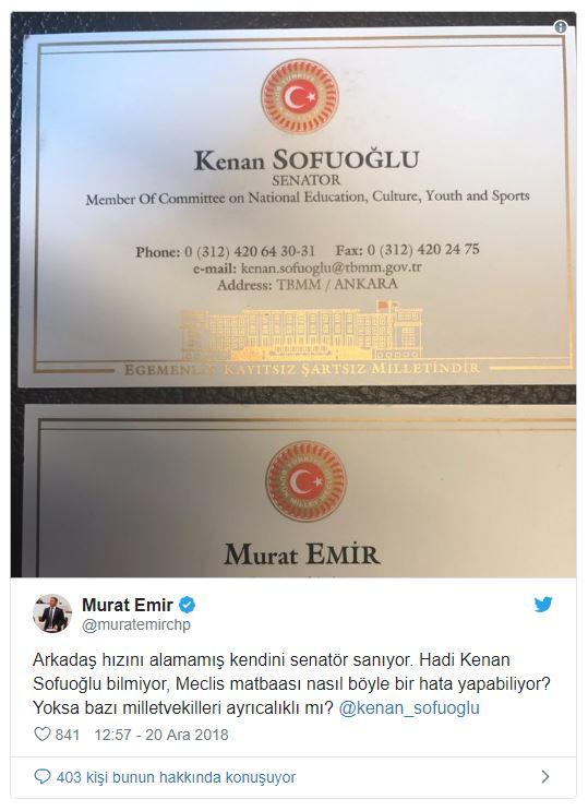 AK Partili Sofuoğlu senatör diye kartvizit bastırdı