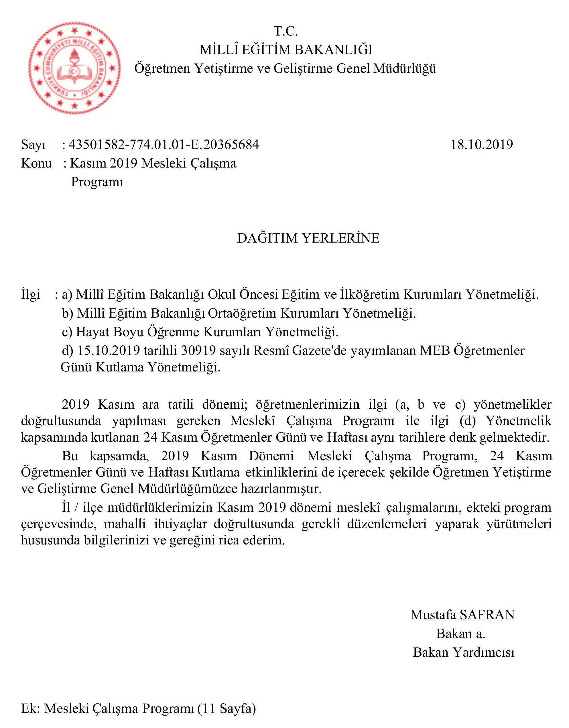 Ogretmenlerin 2019 Yili Kasim Ayi Mesleki Calisma Programi Belli