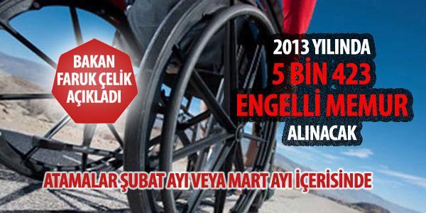 �elik: 2013 y�l�nda 5 bin 423 engelli memur al�nacak