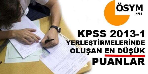 KPSS 2013-1 olu�an en d���k puanlar