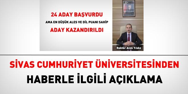 Sivas Cumhuriyet Üniversitesi'nden memurlar.net'teki haberle ilgili açıklama